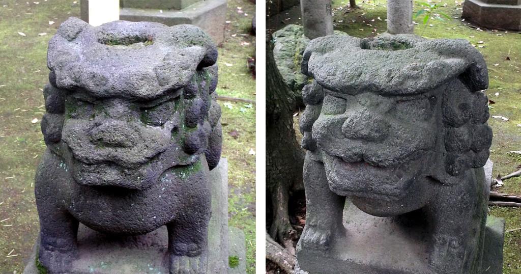 13-2 赤坂氷川神社カッパ狛犬頭左右r02